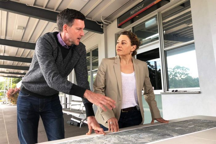 Mark Bailey and Jackie Trad at Nambour Station looking at plans for rail upgrade.