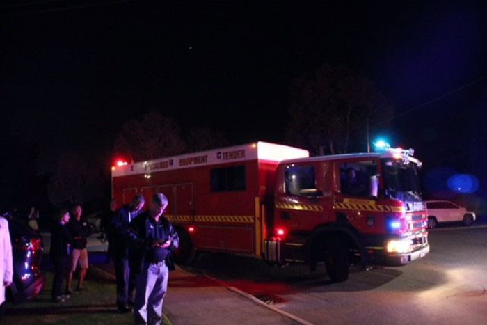 A firetruck at the scene of the fire in Thornlie on Rushbrook Way.