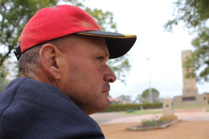 Dubbo resident Troy Parmount sitting on park bench
