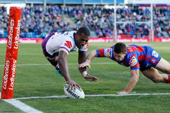 Suliasi Vunivalu scores in the corner for the Storm against the Knights