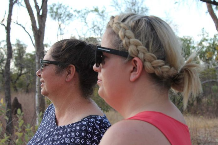 A photo of Helena Lardy and Kelly Wright on the site of Jilkminggan's new housing block.