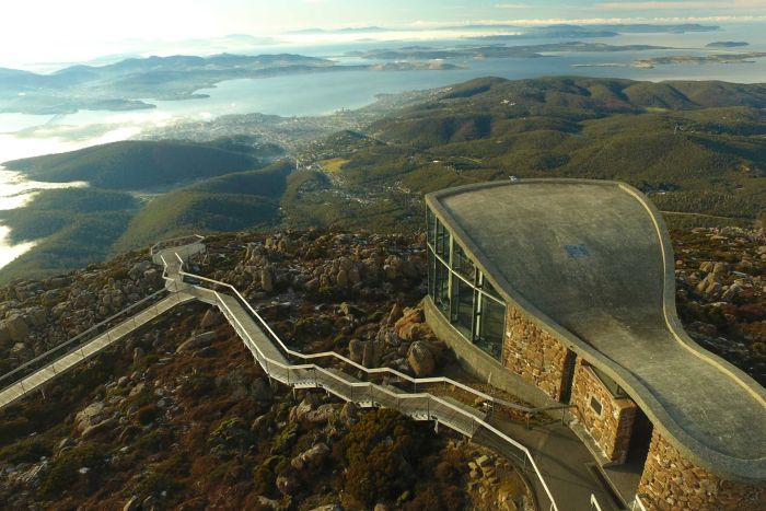 View looking from above kunanyi/Mt Wellington observation deck and walkways towards Hobart, via drone.