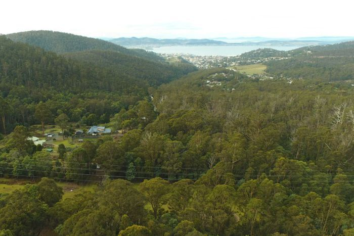 View from over Old Farm Road to Hobart, as seen from drone, June 2018.
