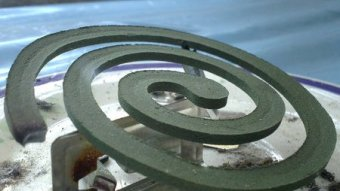 Close view of a mosquito coil.