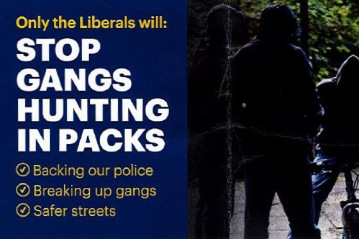 Two pages from a Liberal Party flyer which uses a photo of gang violence in England.