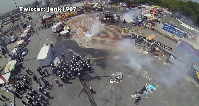 Footage from drone flying over Taksim Square