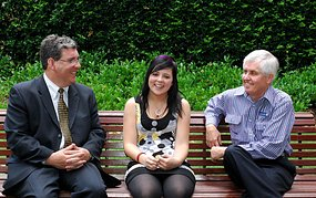 Liver transplant recipient Demi-Lee Brennan (c) with (l-r) Dr Stephen Alexander and Dr Stuart Dorney at Westmead Hospital in Sydney.