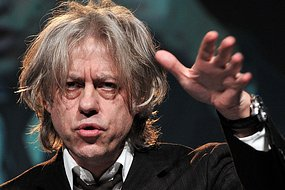 Irish pop singer and activist, Bob Geldof, gestures during a speech