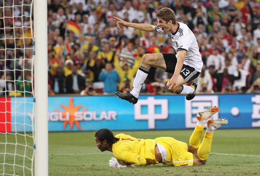 Thomas Muller's two-goal flurry put the game to bed as England were eliminated from the Cup. (Getty Images: Joern Pollex)