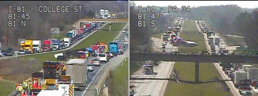 Overturned truck slowing I-81 traffic near Carlisle