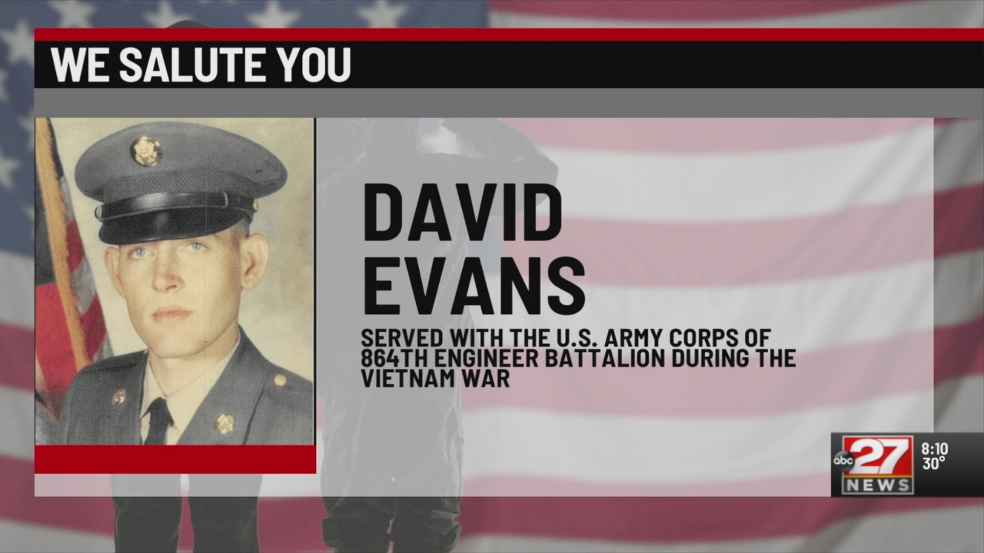 We Salute You David Evans