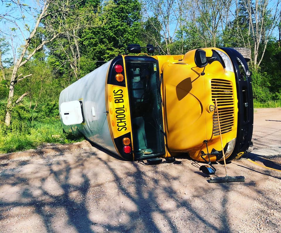 A school bus rolled over in York County