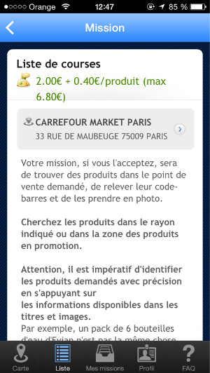 Copie d'écran d'une mission de LocalEyes pour retrouver des produits en magasin