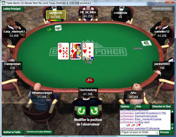 Table de poker en ligne