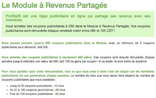 Profits25 Copie d'écran de la page d'accueil
