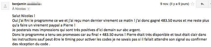 Benjamin a vraiment apprécié le programme 350 euros