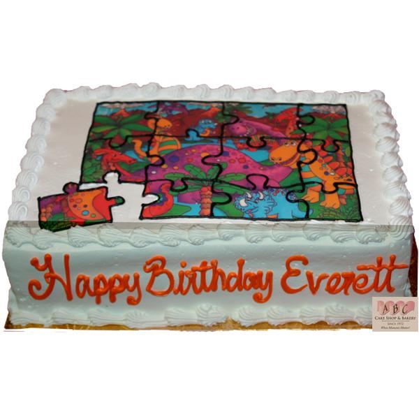 1608 Dinosaur Puzzle Birthday Cake ABC Cake Shop Amp Bakery
