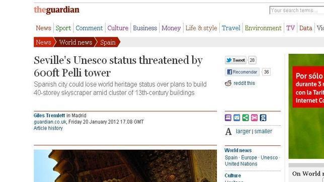 El diario británico «The Guardian» se hace eco de la controversia de la Torre Pelli