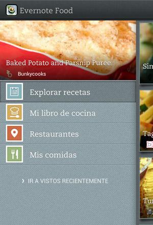 Evernote Food 2.0 secciones