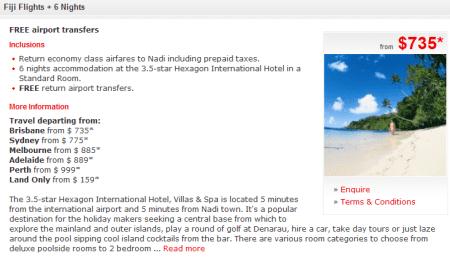 Fiji one week for 735 Australian dollars