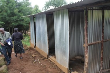 temporary toilets at Komela PS