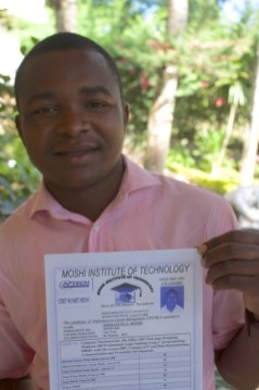 Emmanuel completed secondary school and college Certificate in IT and will continue with Diploma studies.