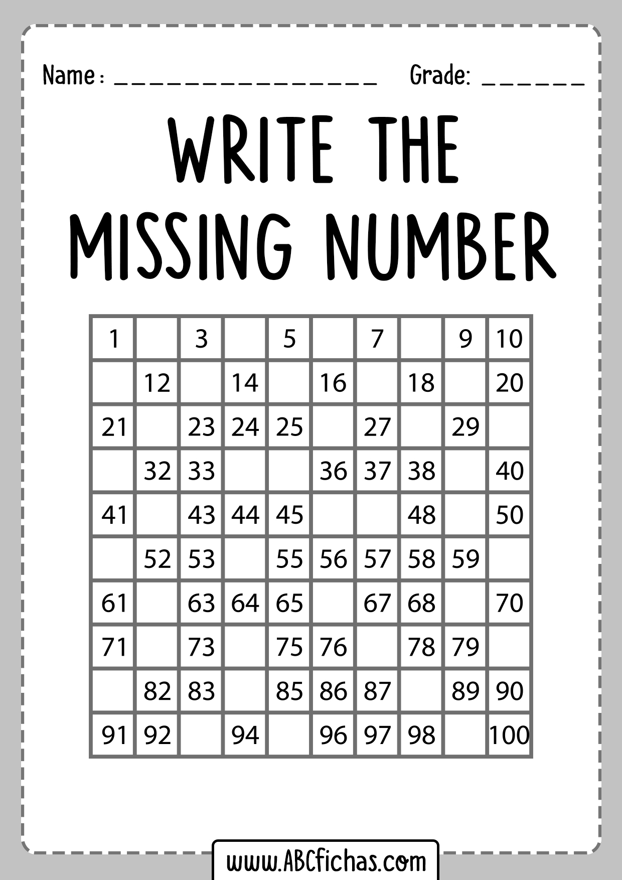 Find Missing Numbers Worksheets