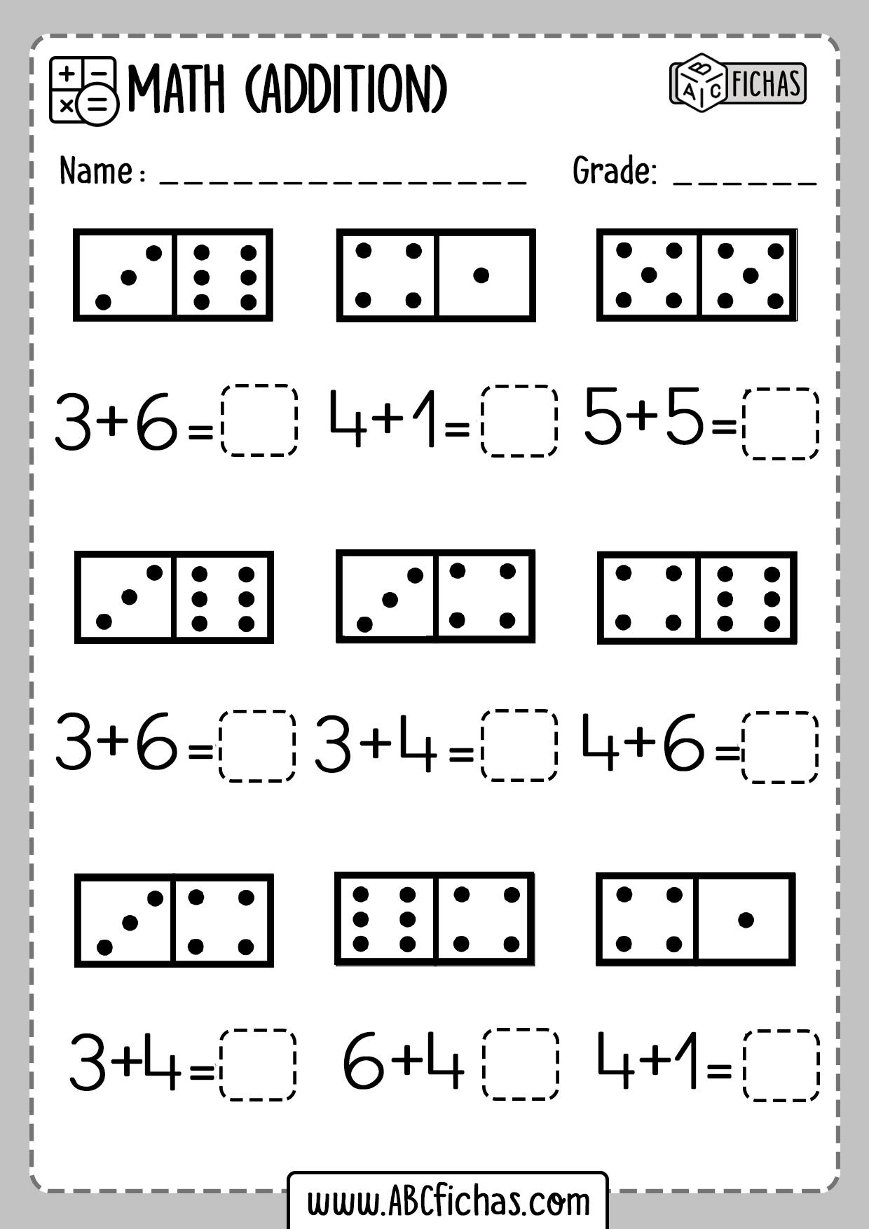 Printable Kindergarten Math Worksheets Domino Addition