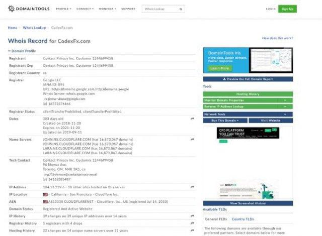 CodexFx Informazioni Dominio
