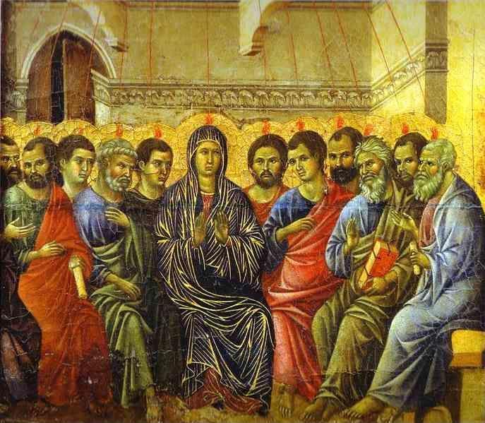 Duccio di Buoninsegna. Maestà (back, crowning panel) The Descent of the Holy Spirit.