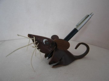 Leather goods,  Novelty leather ball pen / pencil holder.