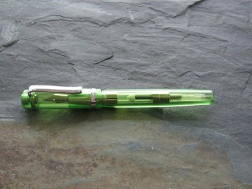The Monteverde Green Crystal Fountain Pen fitted with a medium steel nib. Filling is by either a converter or cartride (supplied). Price £30-00.