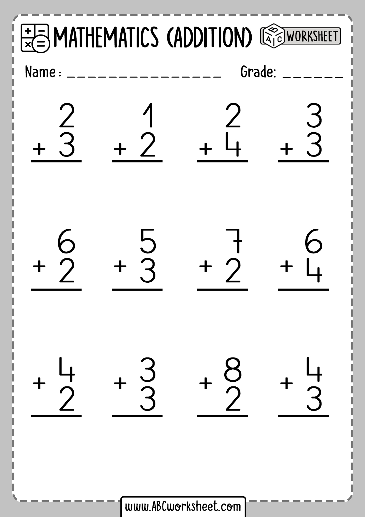 Addition 1 Digit Number Worksheets