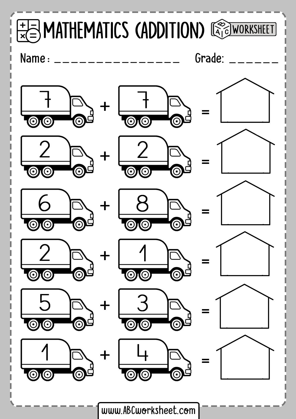 Kindergarten Math Worksheets Printable Addition