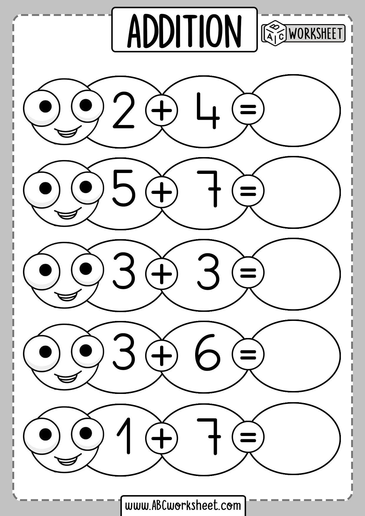 Addition Practice Sums Kindergarten