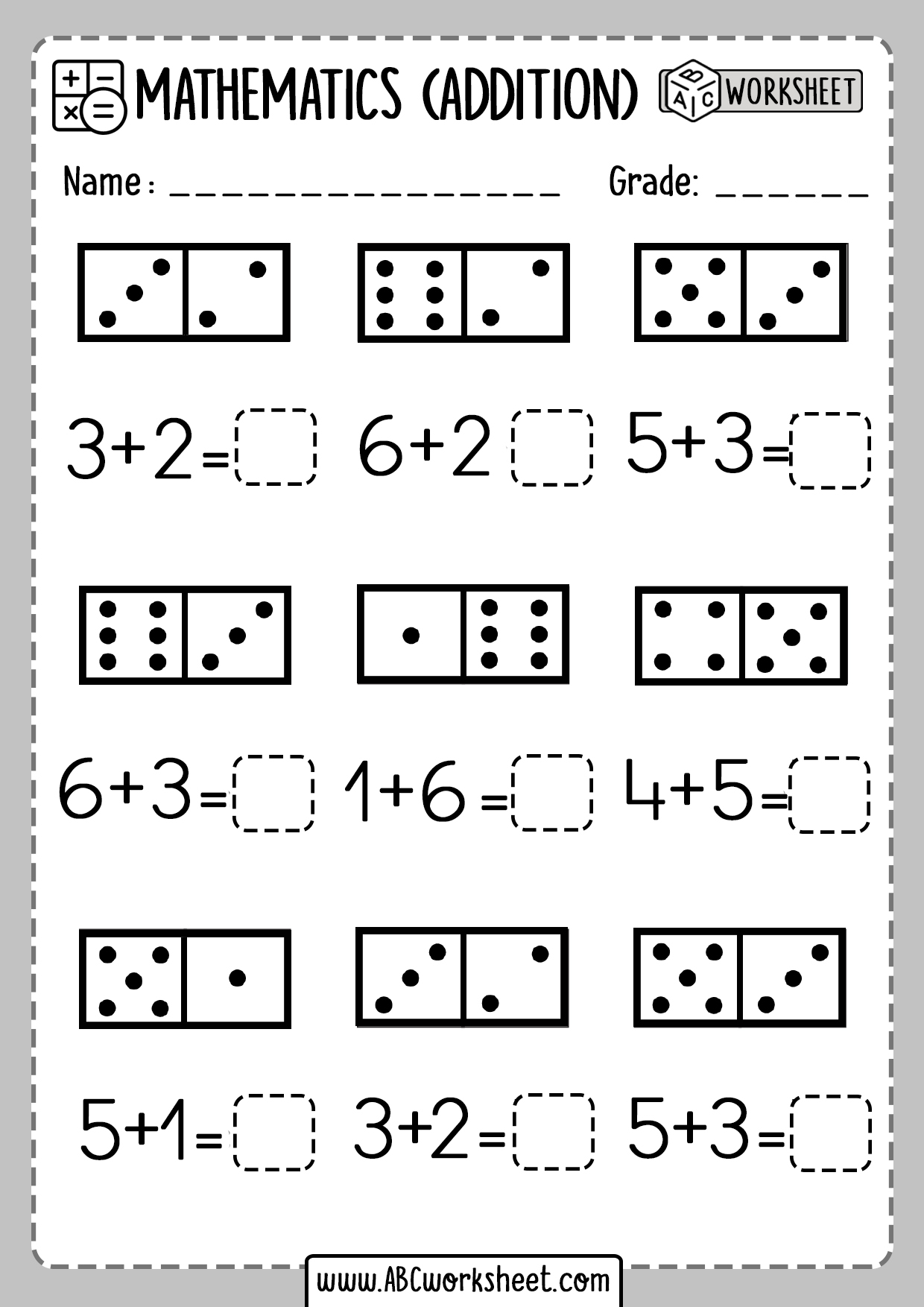 Domino Addition Worksheet