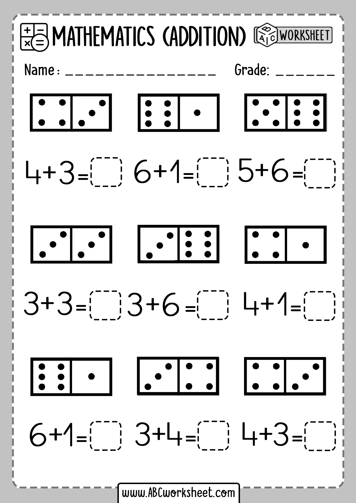 Kindergarten Math Worksheet Dominio Addition