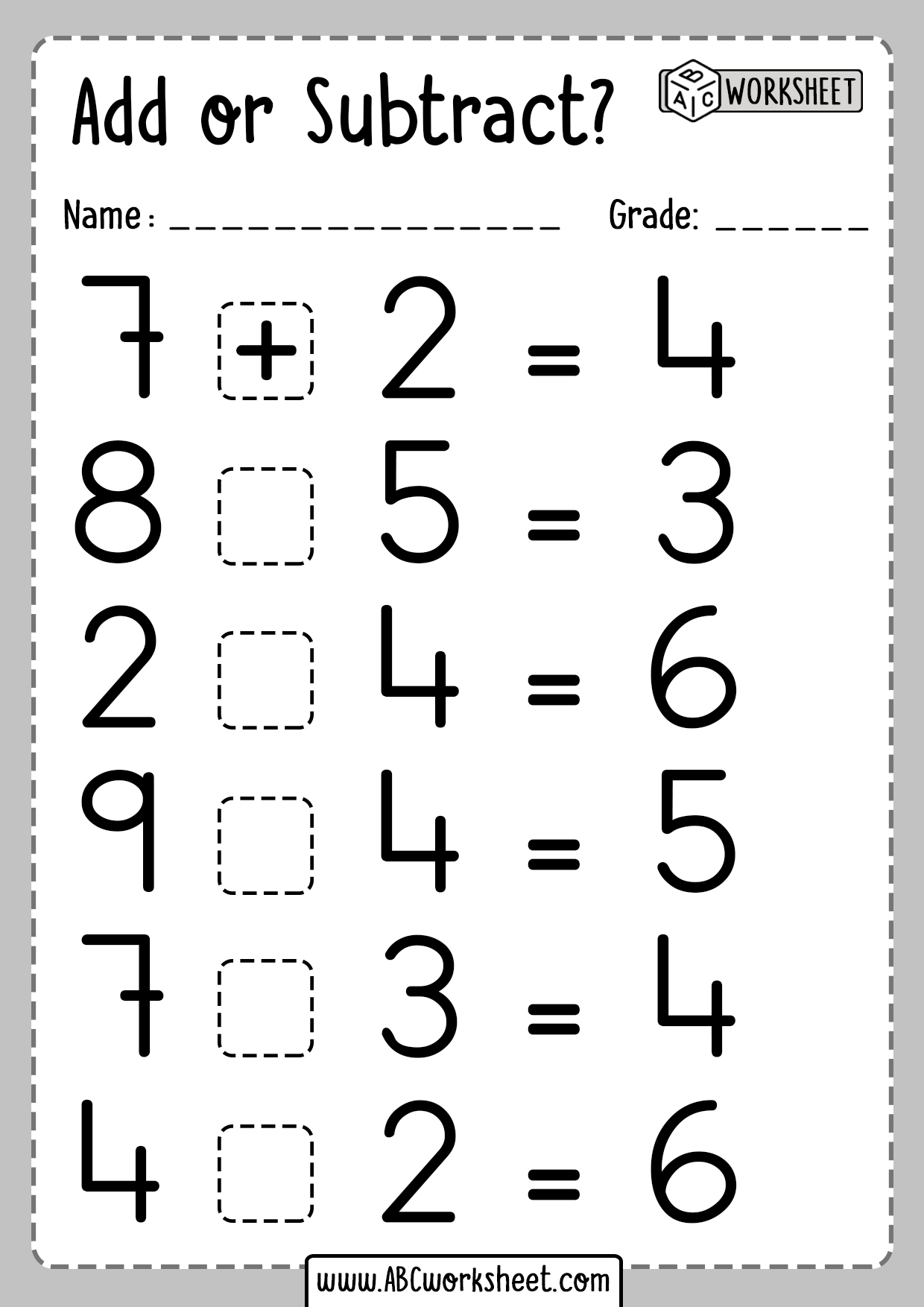 Adding Or Subtracting Math Worksheets