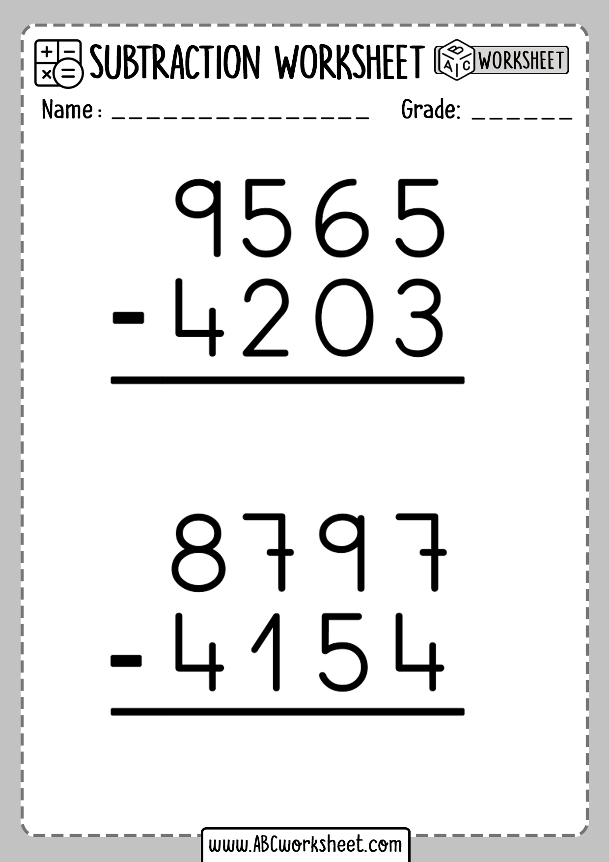 Math Subtraction Worksheets