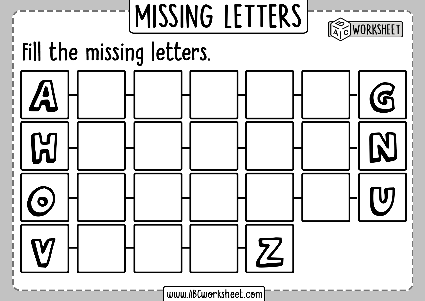 Missing Letters Worksheet For Kids
