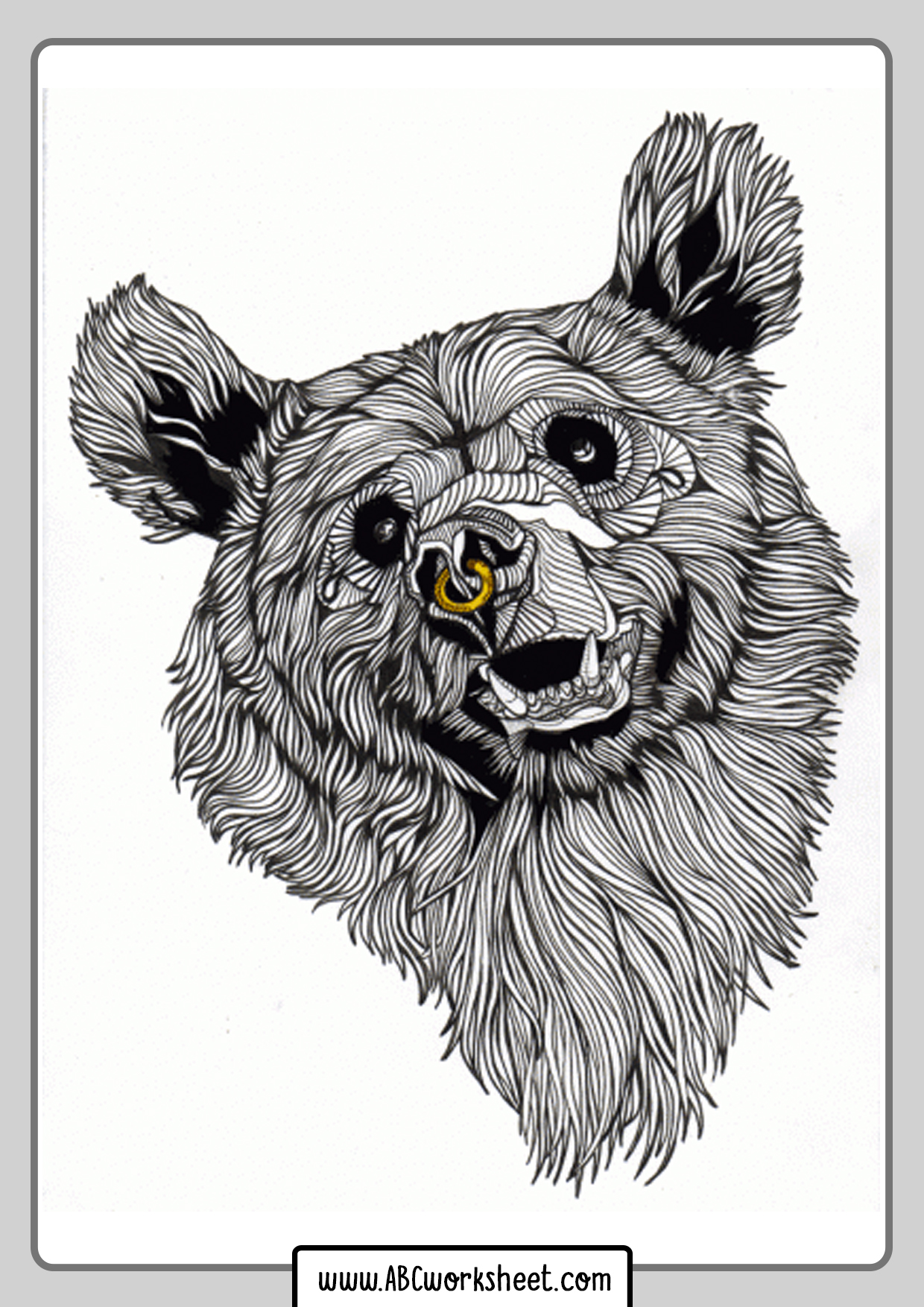 Modern Grizzly Bear Coloring Page