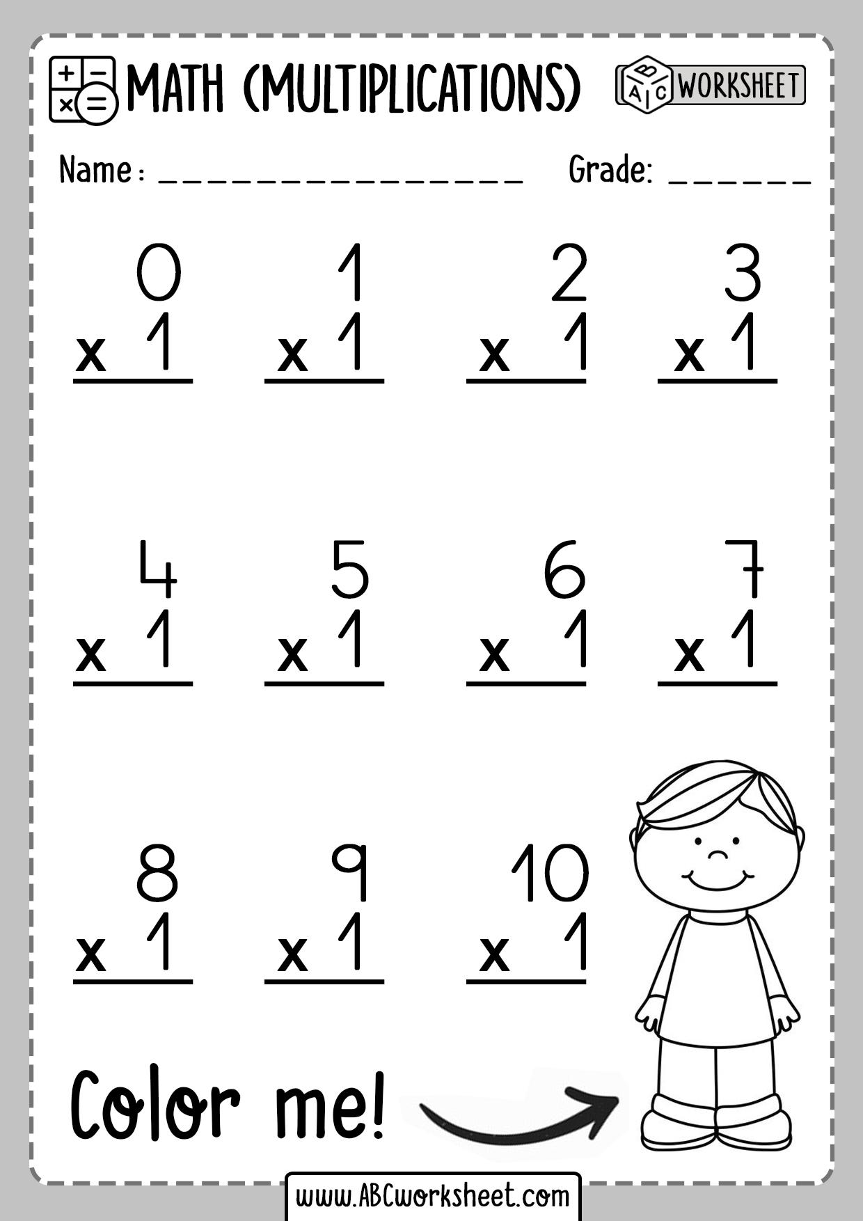 Multiplication Worksheets Number 1 One