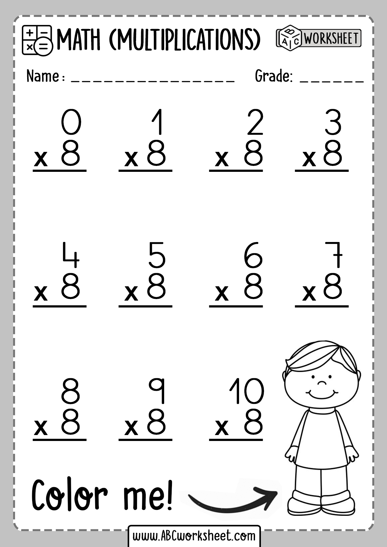 Multiplication Worksheets Number 8 Eight