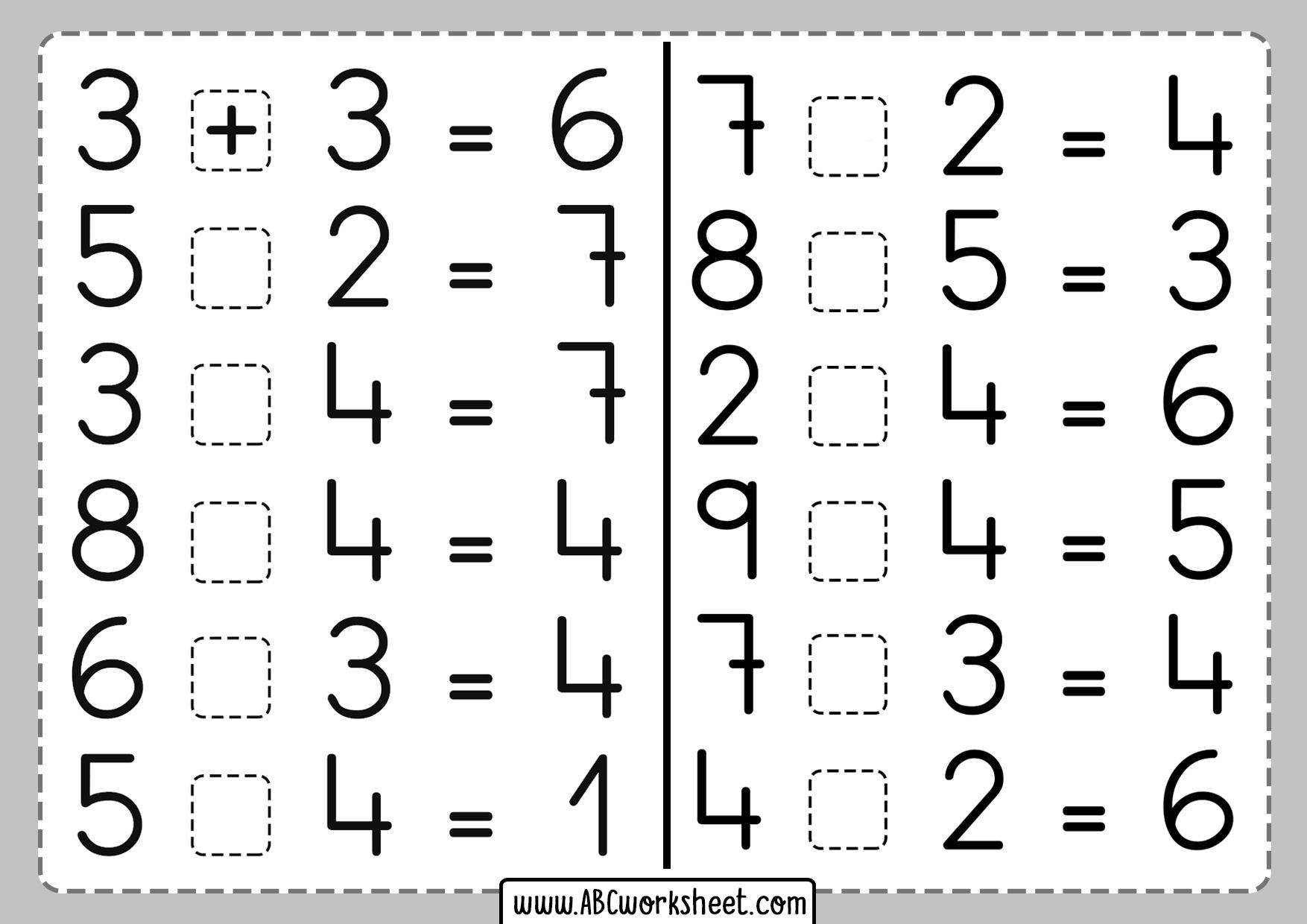 One Digit Addition Subtraction Worksheets