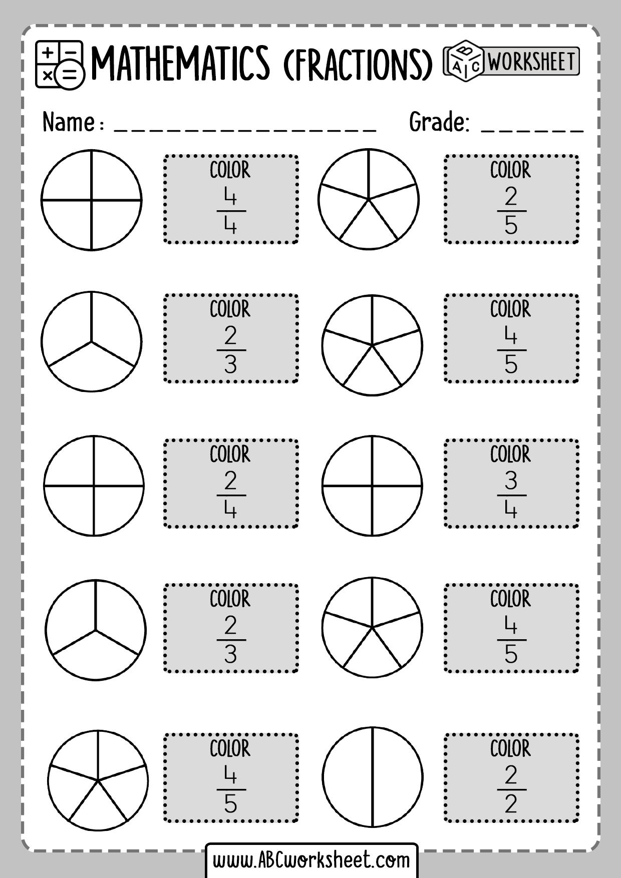 Printable Fractions Worksheets