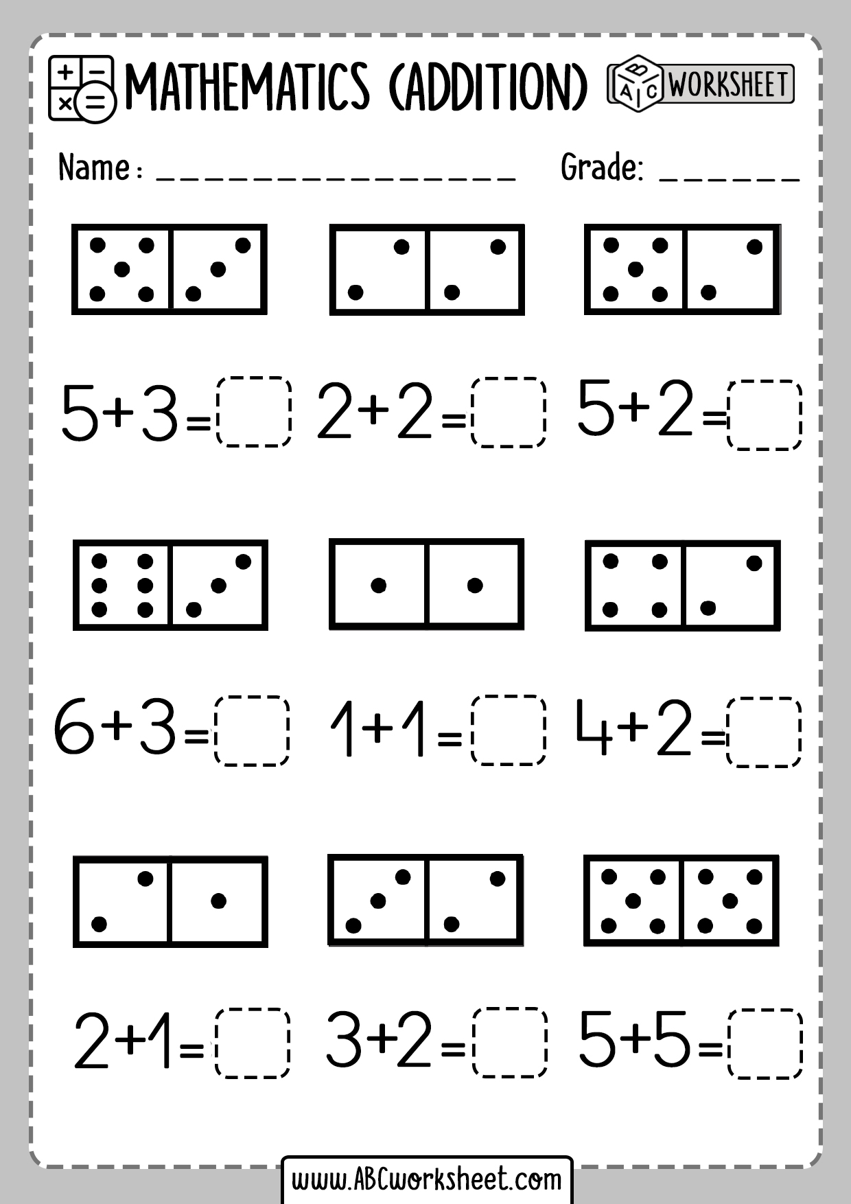 Printable Kindergarten Math Worksheets Domino Addition