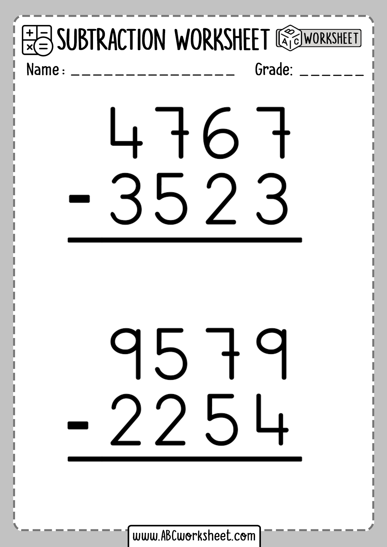 Printable Subtraction Tables