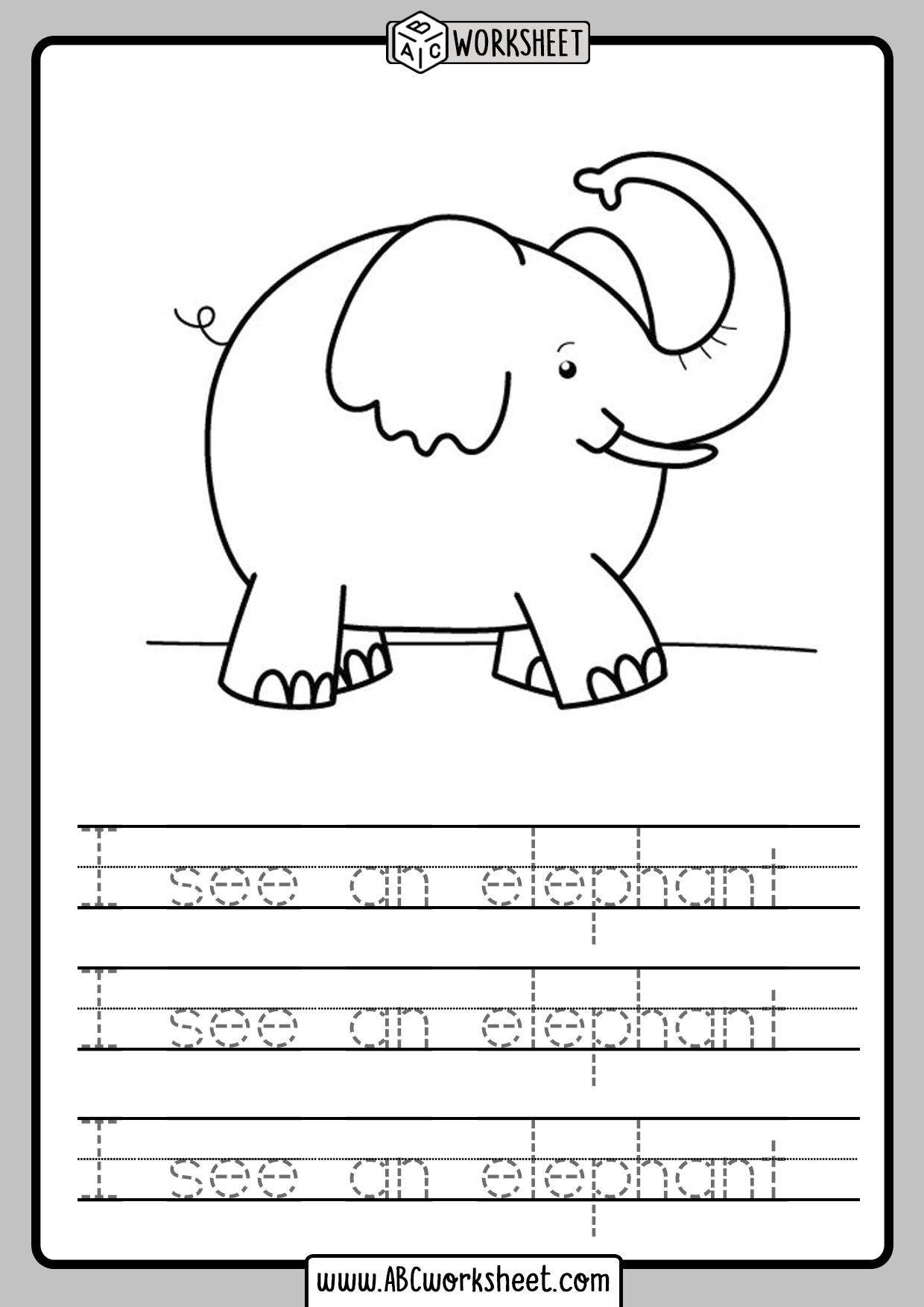 Sentence Tracing Kindergarten Worksheets