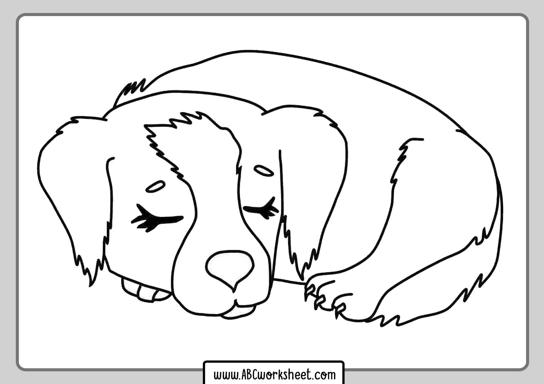 Sleeping Dog Coloring Page