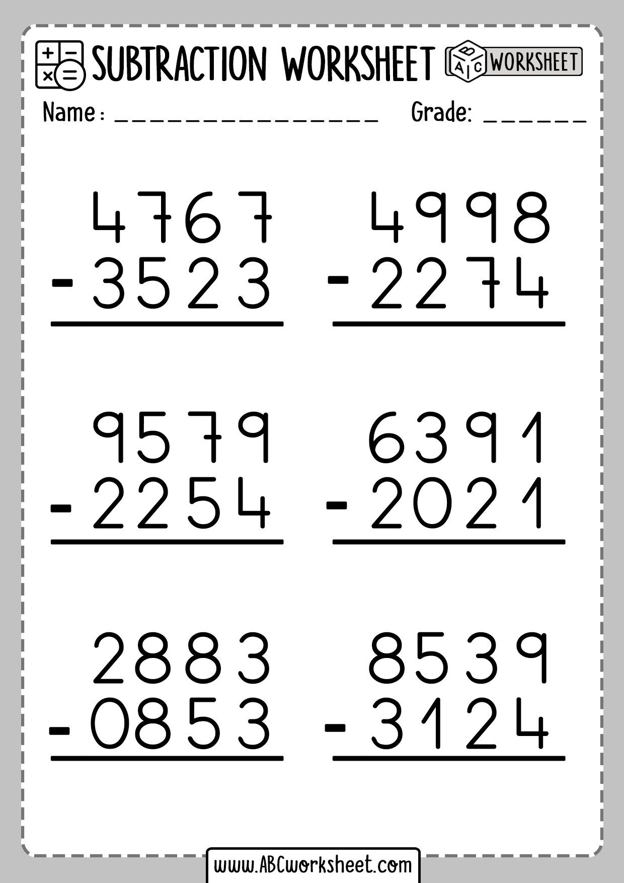 Subtraction Without Regrouping Worksheet